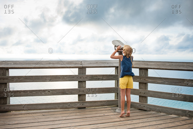 Girl at a lake overlook