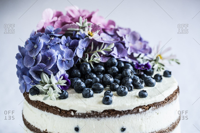 Cake with flowers and blueberries