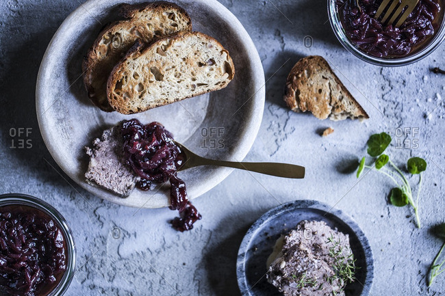 Onion chutney served with pate and toast