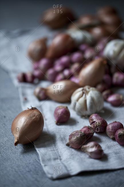 Onions and garlic on a cloth
