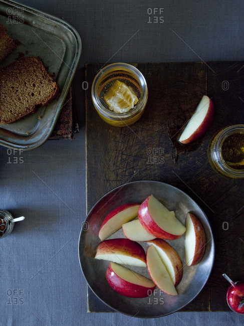 Apples, honey, and bread
