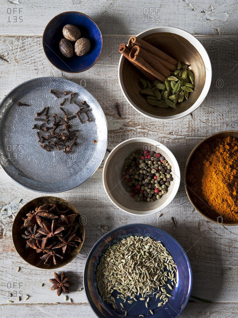Variety of spices in bowls