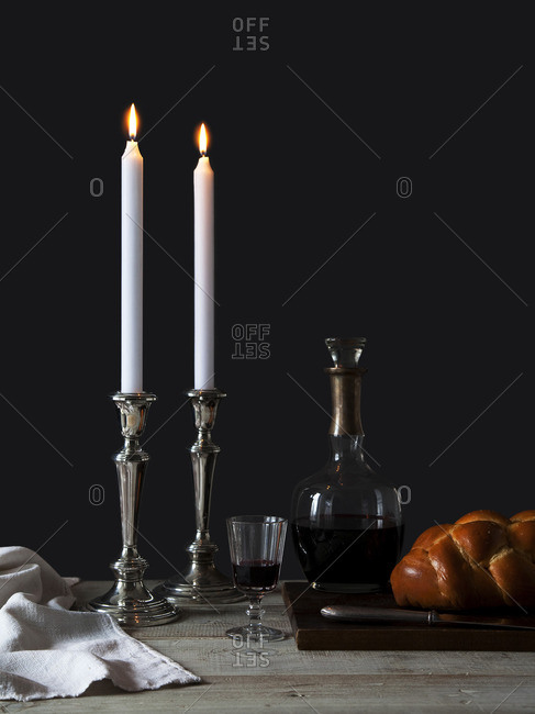 Table set for Jewish Sabbath