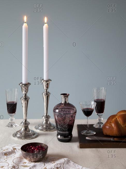 A table set for Jewish Sabbath