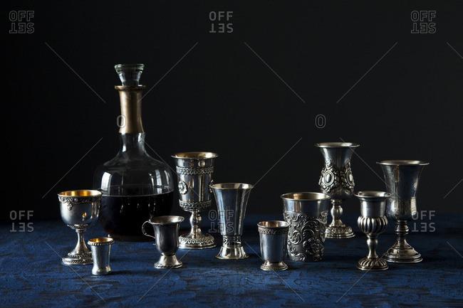 Silver wine glasses and wine