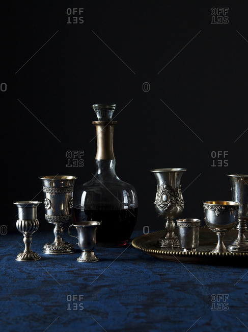Silver wine glasses with wine