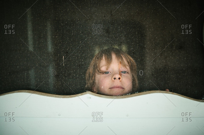 Boy looking through screen door