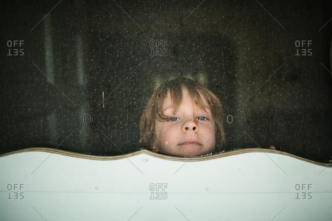 Boy looking through screen door