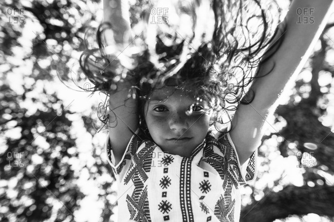 Low angle view of a girl in black and white