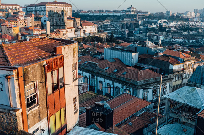 Aerial view of buildings in Porto, Portugal