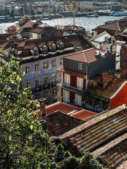 Aerial view of buildings by the Rio Douro in Porto, Portugal
