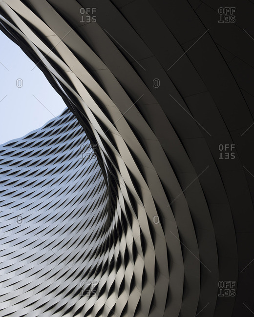 Curving facade of building