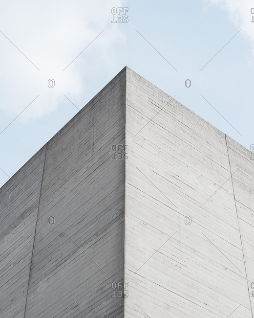 Corner of a blocky cement building