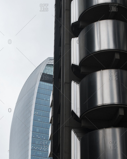 Detail of the Lloyd's Building and Willis Building exteriors, London, England