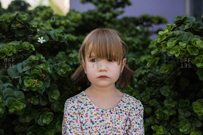 Portrait of toddler girl in pigtails standing in bushes