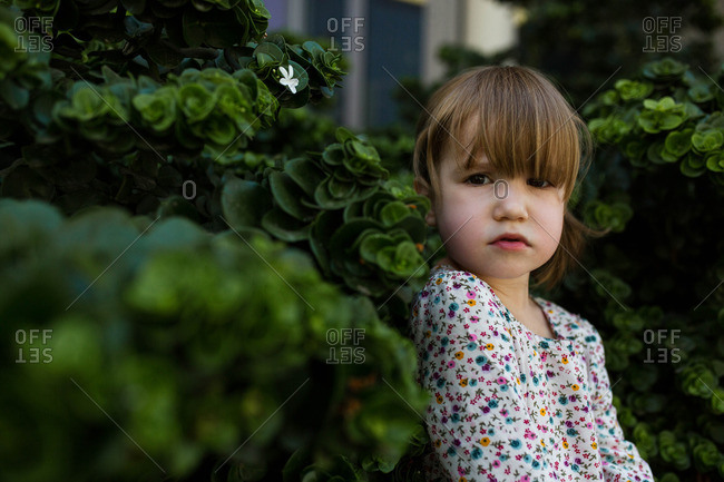 Portrait of toddler girl against green bushes