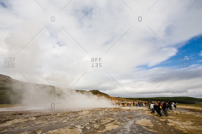 Tourists at Geyser, Iceland