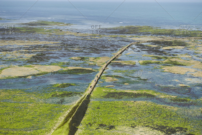 Aerial view of breakwater, Ile de R_, Charente-Maritime, France