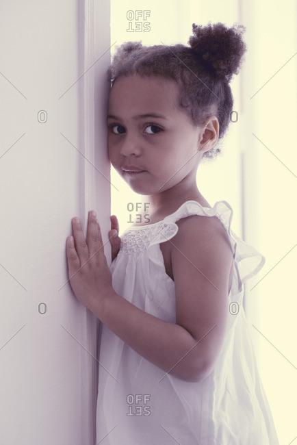 Little girl in white dress, portrait