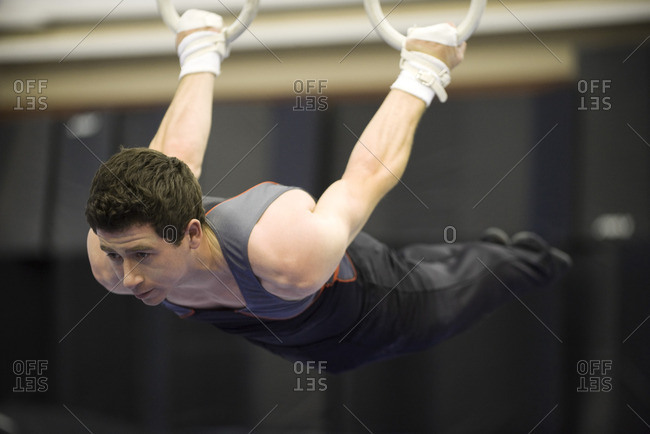 Male gymnast on the rings