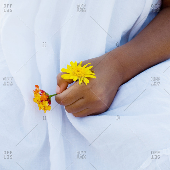 Child's hand holding flowers