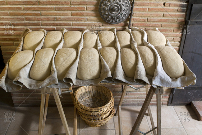 Fresh bread dough waiting to be baked