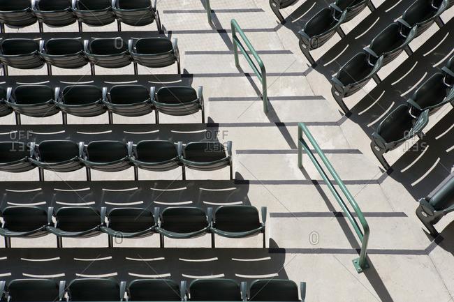 Empty stadium seating, overhead view
