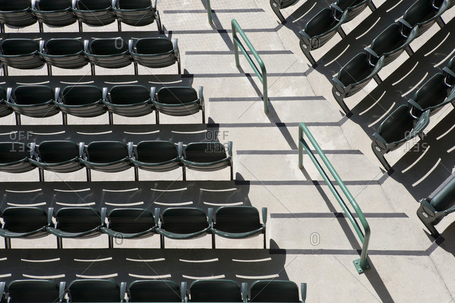 Empty stadium seating, overhead view