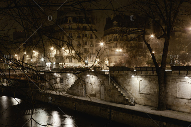 Bank of Seine river by night, Paris, France