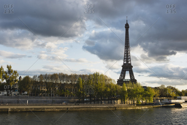 Eiffel Tower viewed from Seine River, Paris, France