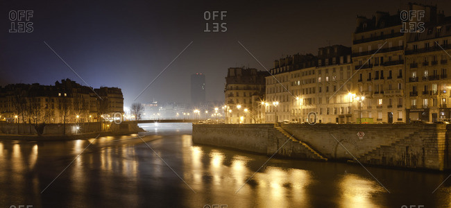 France, Paris, Seine River at night