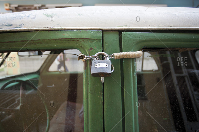 Car locked with padlock