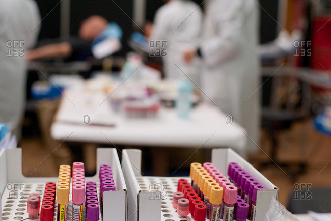 Vials of blood in donation center