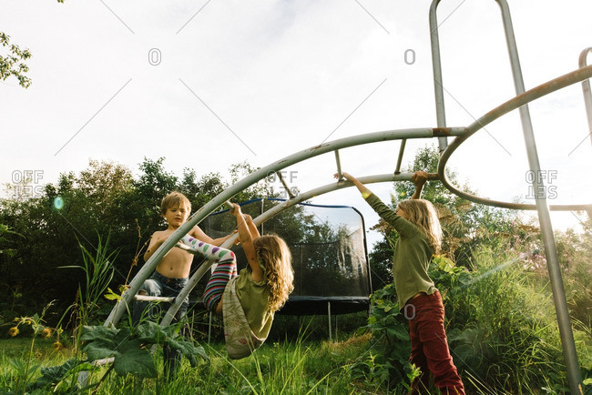 Kids playing on a jungle gym