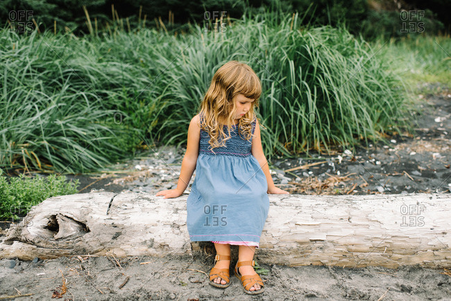 Girl on dress on beach log