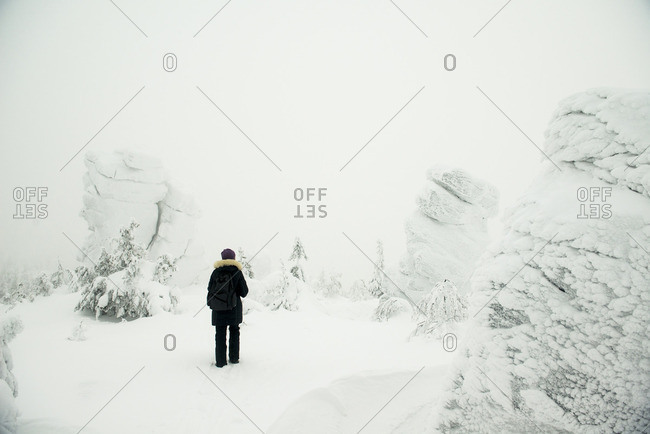 Hiker standing in snowy forest