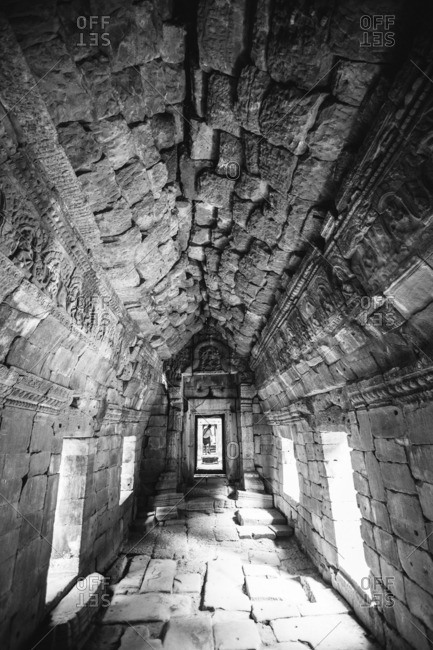 Interior of ancient temple at Angkor Wat, Siem Reap, Cambodia