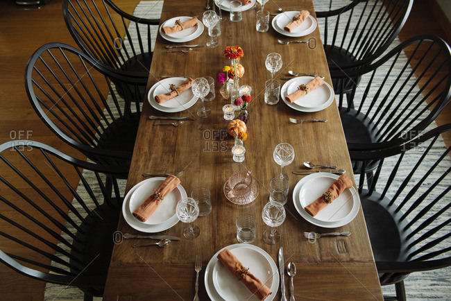 Table set for a fall dinner party