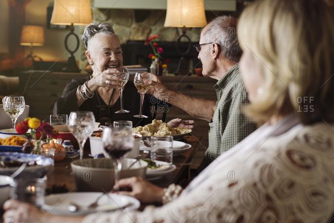 Senior couple toasting at Thanksgiving dinner