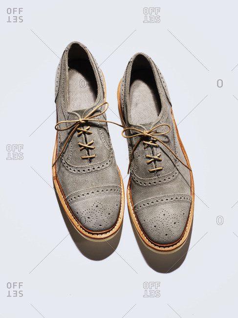 Gray suede oxford shoes