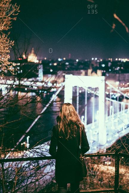 Woman overlooking the Elisabeth Bridge in Hungary