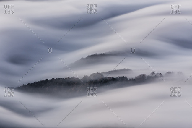 Rolling fog In Tavernet, Barcelona, Spain