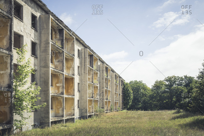 Decaying concrete tower block
