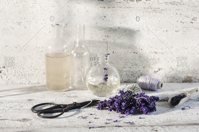 Glass bottles of lavender oil and lavender water