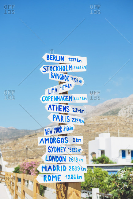 Greece- Amorgos- sign posts- cities and distances