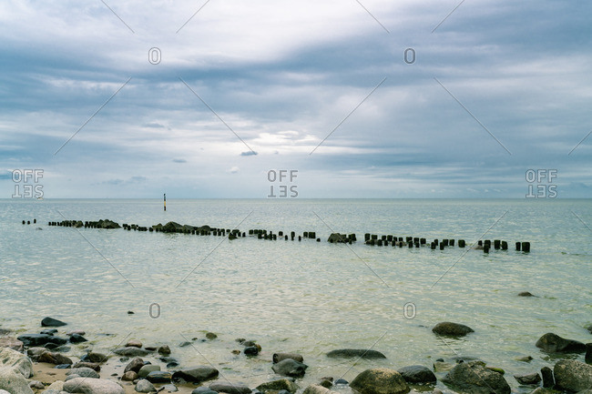 Germany- Mecklenburg-Western Pomerania- Ruegen- Baltic Sea- Sassnitz beach with stones