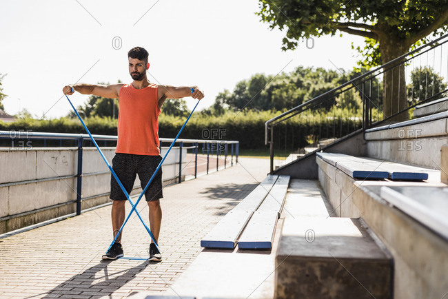 Athlete exercising with fitness band
