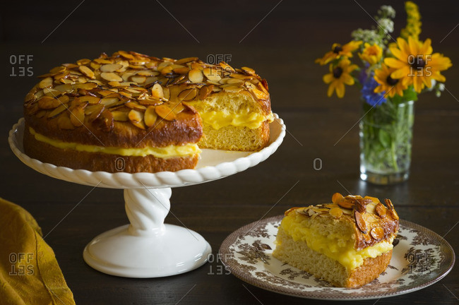 A slice of bee sting cake on a plate