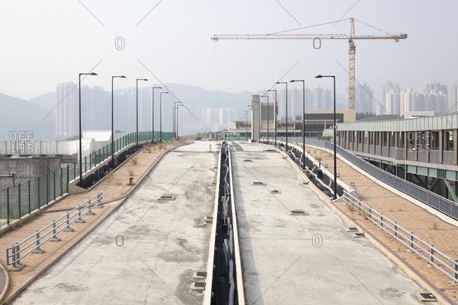 Hong Kong - December 16, 2011: Roadways under construction