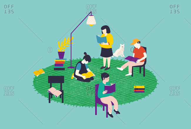 Illustration of a family reading together